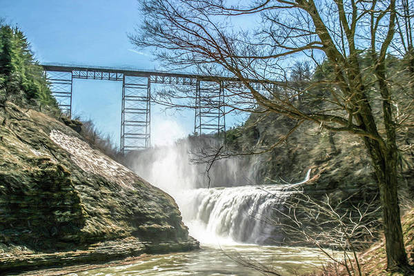 Vintage Train Trestle With Waterfalls Poster