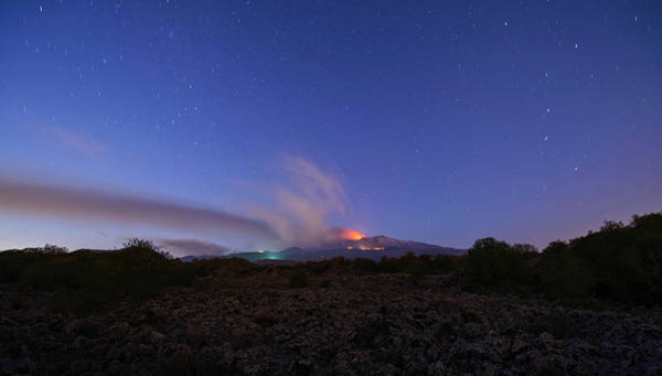 Poster featuring the photograph Volcano Etna Eruption by Mirko Chessari