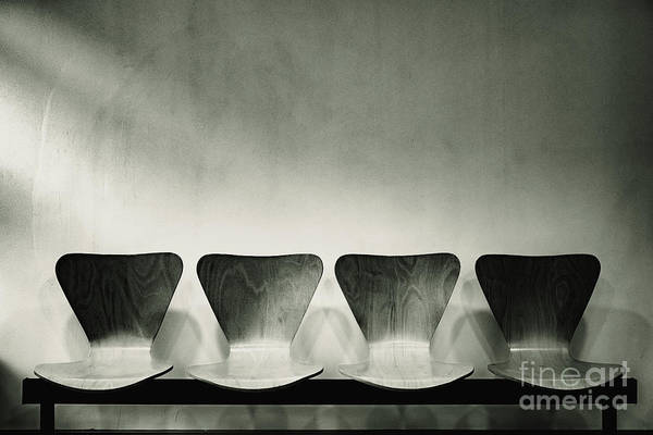 Waiting Room With Empty Wooden Chairs, Concept Of Waiting And Passage Of Time, Black And White Image, Free Space For Text. Poster