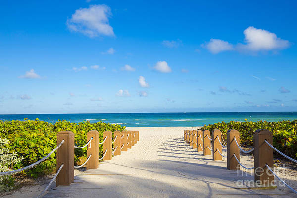 Walkway To Famous South Beach, Miami Poster