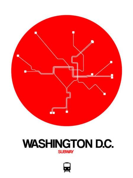 Washington D.c. Red Subway Map Poster