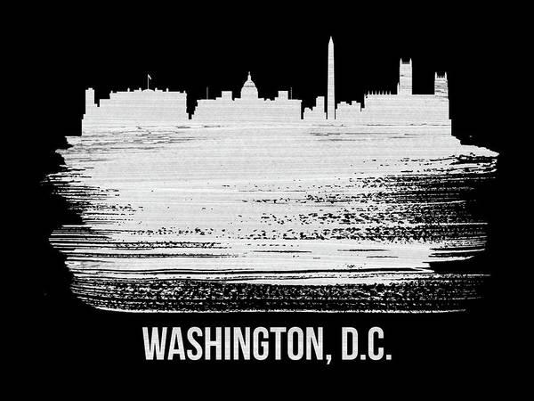 Washington, D.c. Skyline Brush Stroke White Poster