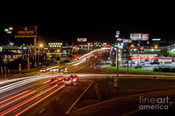 Washington Road At Night - Augusta Ga Poster