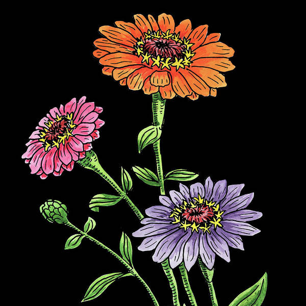 Watercolor Flowers Zinnia Poster