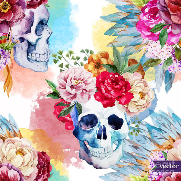Watercolor, Skull, Flowers, Indian Poster