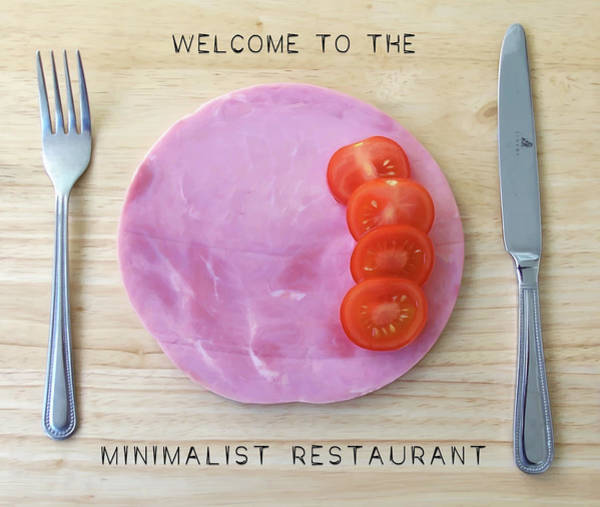 Poster featuring the digital art Welcome To The Minimalist Restaurant by ISAW Company