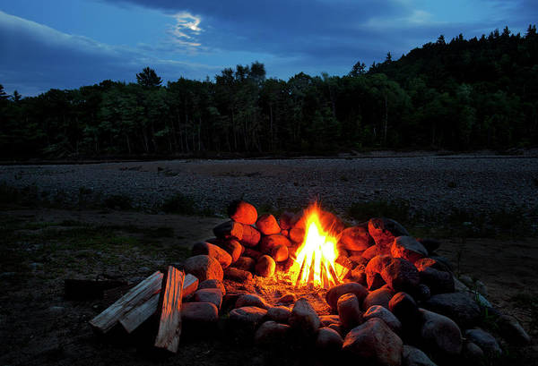 White Mountains Moonlit Campfire Poster