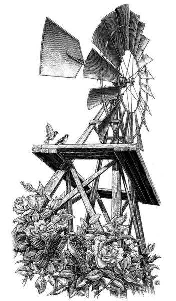 Poster featuring the drawing Windmill by Clint Hansen