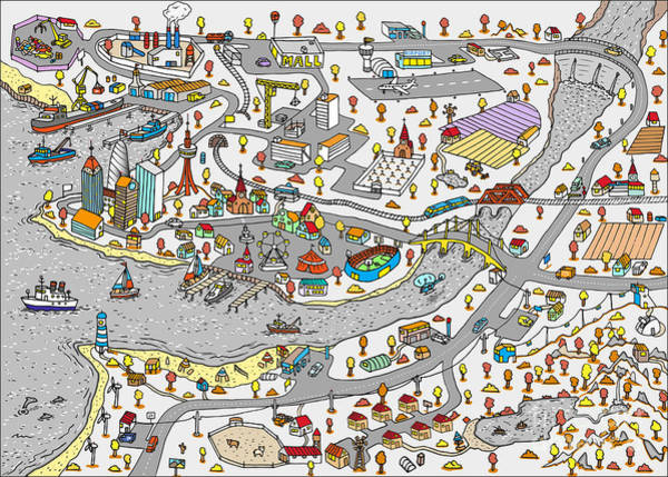 Winter Doodle Town. Map Drawn By Hand Poster