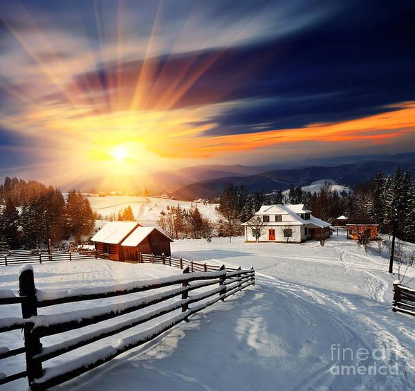 Winter Landscape. Mountain Village In Poster