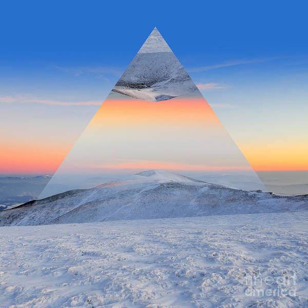 Winter Mountain Landscape At Sunset Poster