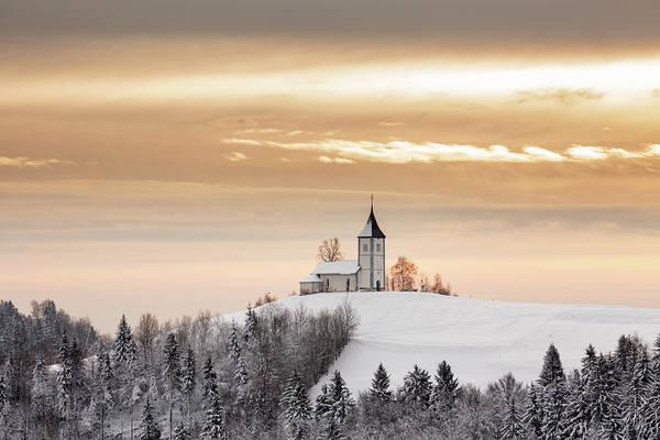 Winter Sunrise At Jamnik Church Of Saints Primus And Felician Poster