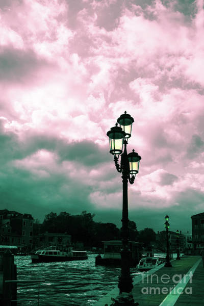 Winter Venice Lantern On The Embankment Poster