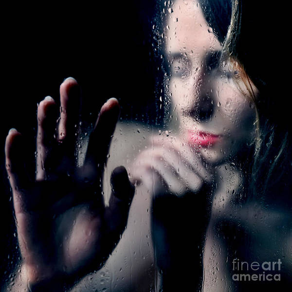 Woman Portrait Behind Glass With Rain Drops Poster