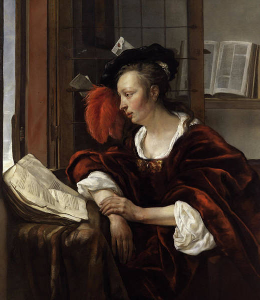 Woman Reading A Book By A Window Poster