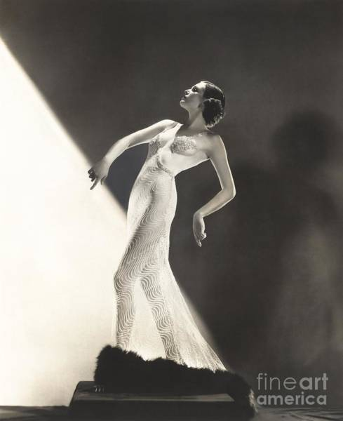 Woman Wearing Sheer Evening Gown Poster