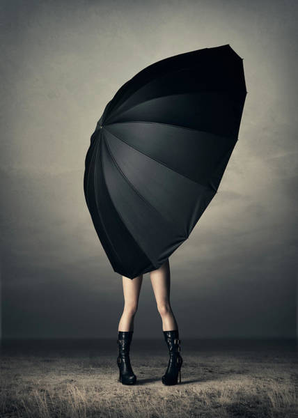 Woman With Huge Umbrella Poster
