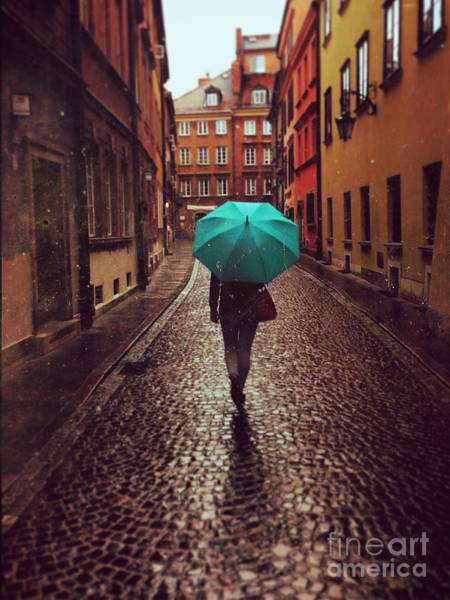 Woman With Umbrella Walking On The Rain Poster