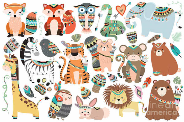 Woodland And Jungle Tribal Animals Poster