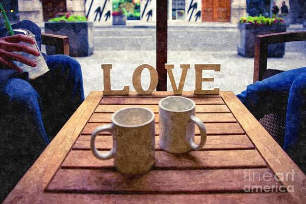 Word Love Next To Two Cups Of Coffee On A Table In A Cafeteria,  Poster