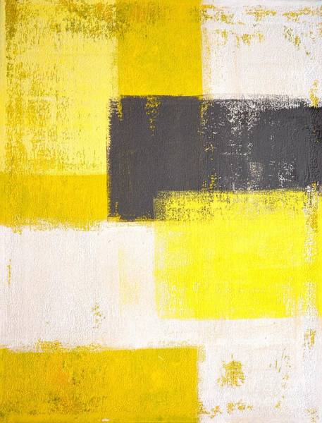 Yellow And Grey Abstract Art Painting Poster