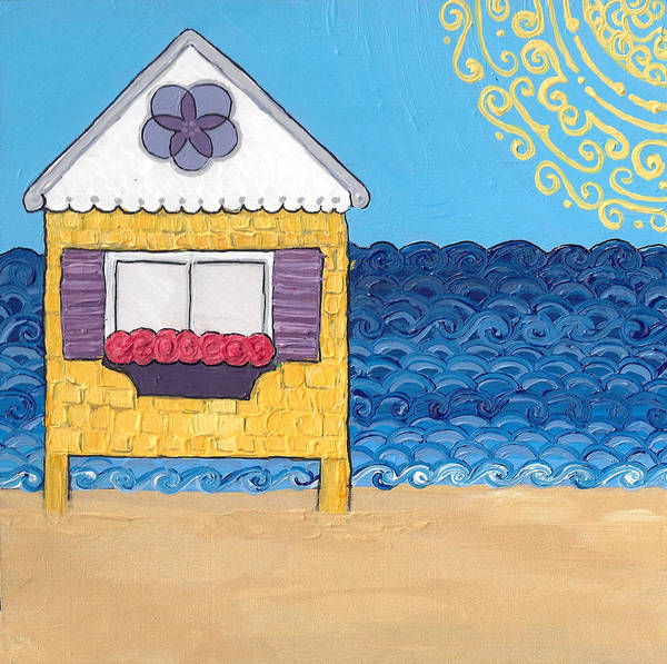 Poster featuring the painting Yellow Cottage On The Beach by Caroline Sainis