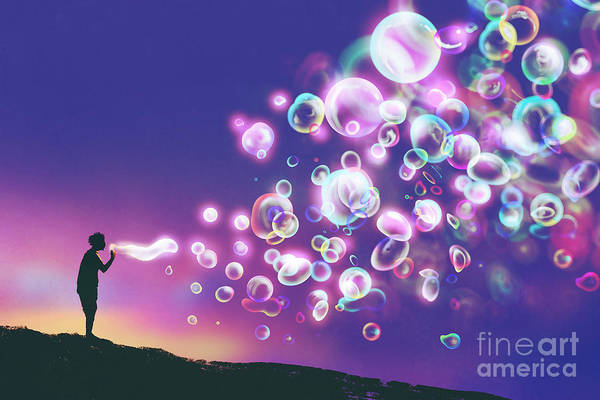 Young Man Blowing Glowing Soap Bubbles Poster