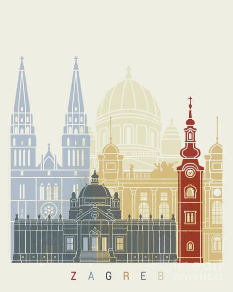 Zagreb Skyline Poster Poster