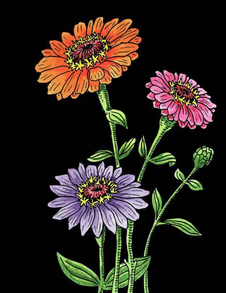 Zinnia Flowers Botanical Watercolour  Poster