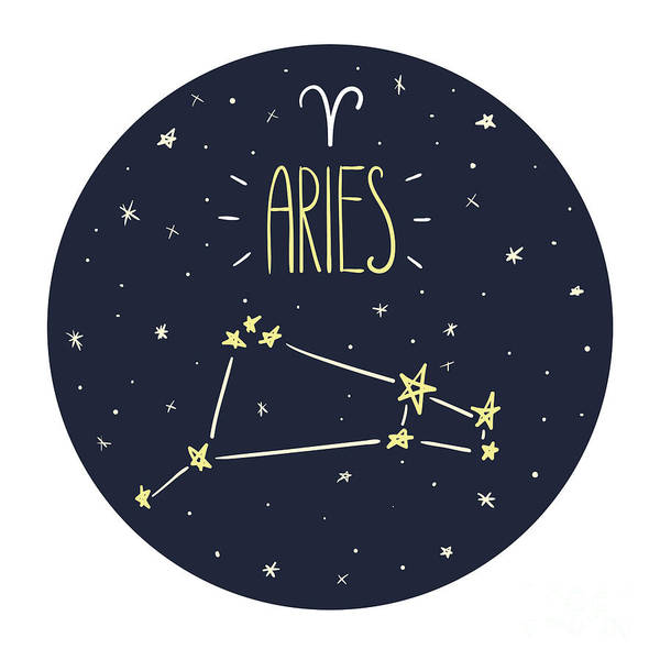 Zodiac Signs Doodle Set - Aries Poster