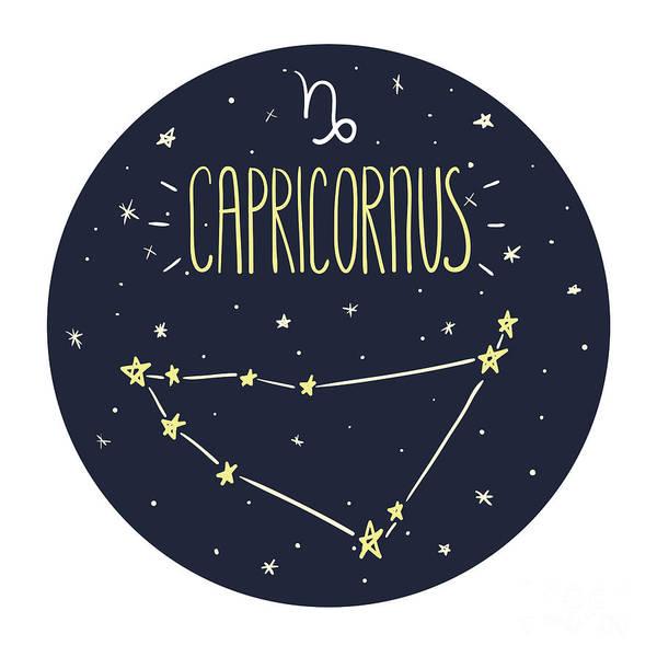 Zodiac Signs Doodle Set - Capricorn Poster