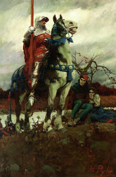KNIGHT IN ARMOR PASSING DEATH /& THE DEVILPAINTING REAL CANVASART PRINT