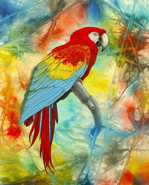 House Finch Mixed Media PRINT of Original Painting Red Orange Yellow Green