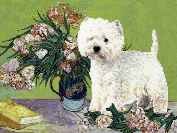 Westhighland Terrier Dog and Flowers Westie Wall Art Print Dog Starry Night Aja