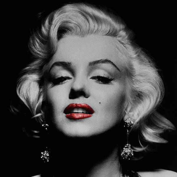 BLACK AND WHITE GLAMOROUS MARILYN MONROE RED LIP CANVAS ART PRINTS WALL PICTURES
