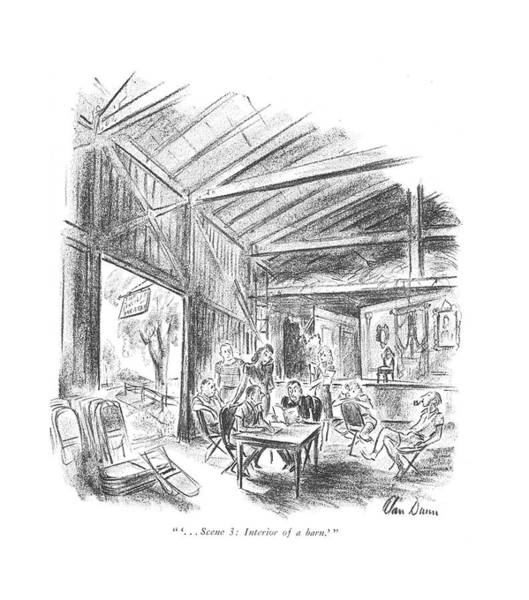 Wall Art - Drawing -  ' . . . Scene 3: Interior Of A Barn.' by Alan Dunn