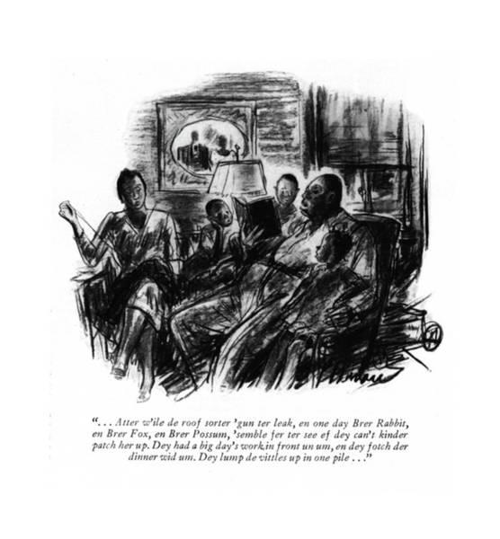 African American Drawing - . . . Atter W'ile De Roof Sorter 'gun Ter Leak by Perry Barlow