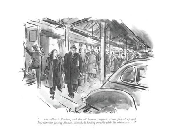 Railroad Station Drawing - . . . The Cellar Is ?ooded by Perry Barlow