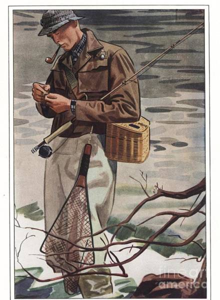 Nineteen-thirties Wall Art - Drawing -  1930s Usa Fishing Smoking Pipes by The Advertising Archives