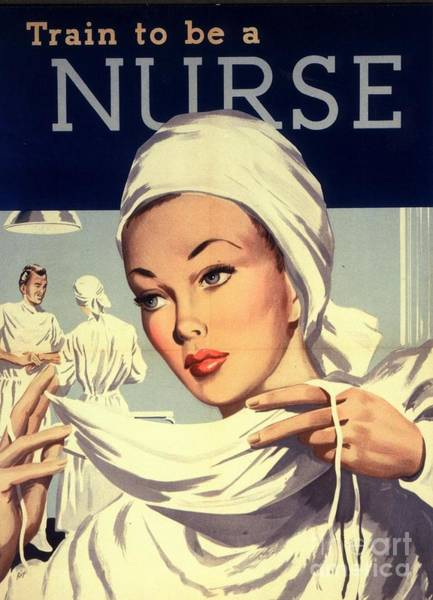 Advertising Drawing -  1950s Uk Nurses Hospitals Medical by The Advertising Archives