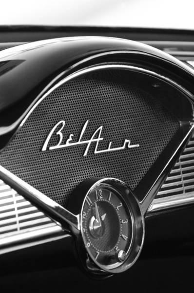 Photograph -  1956 Chevrolet Belair Dashboard Clock by Jill Reger