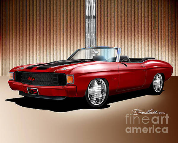 1972 Mixed Media -  1972 Custom Chevelle Ss Convertible  by Danny Whitfield