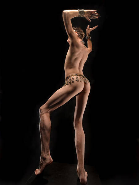 Photograph -  6493 Elegant Slim Male Nude Dancing With Jewelry by Chris Maher