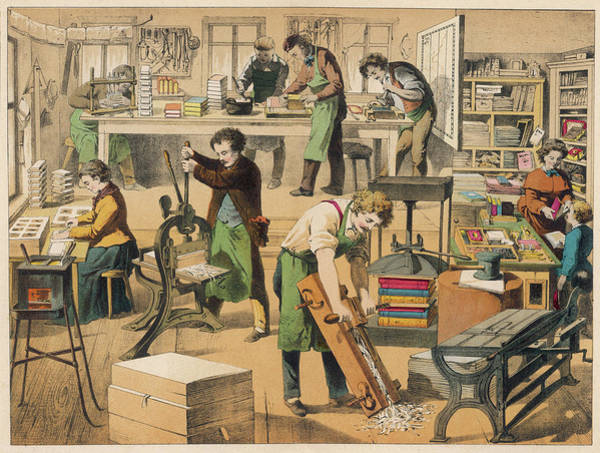 Wall Art - Drawing -  A Bookbinder's Workshop by Mary Evans Picture Library