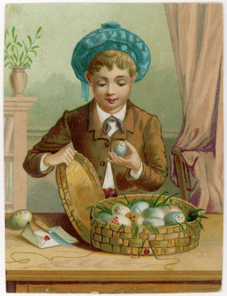 Wall Art - Drawing -  A Boy Opens A Basket Of Eggs by Mary Evans Picture Library