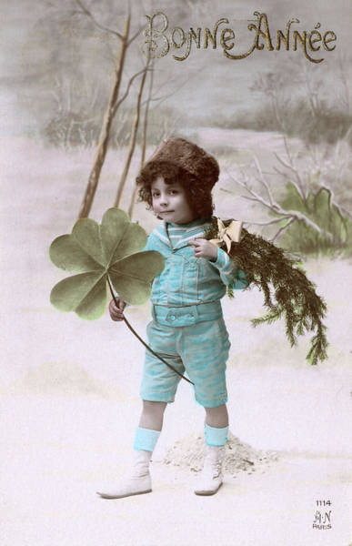 Four Leaf Clover Photograph -  A Boy Walks Through The Snow  Carrying by Mary Evans Picture Library
