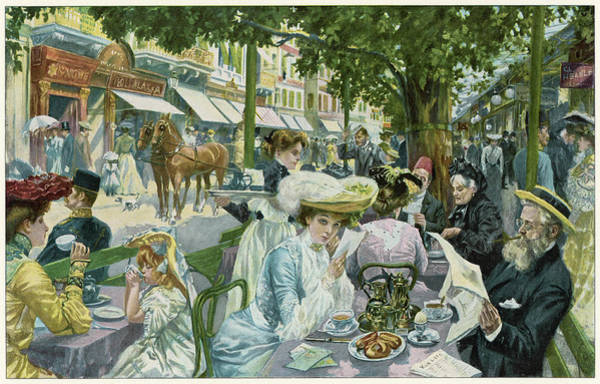 A Busy Time In The 'alte  Wiese' Cafe Art Print by Mary Evans Picture Library