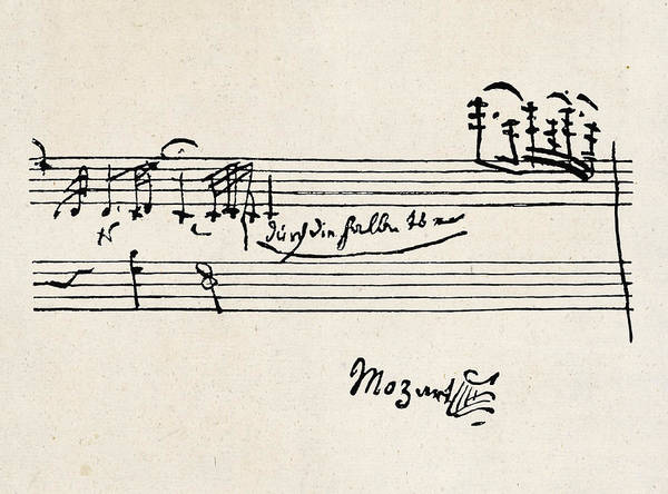 Wall Art - Drawing -  A Cadenza - With Mozart's  Signature by Mary Evans Picture Library