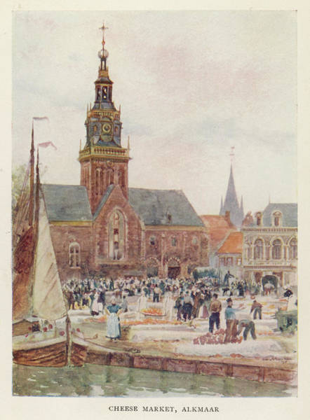 Cheese Drawing -  A Cheese Market In The Town  Square by Mary Evans Picture Library