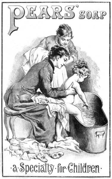 Wall Art - Drawing -  A Child Steps Into A Bath Tub  Of Hot by  Illustrated London News Ltd/Mar